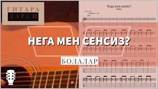 """Gitara chalishni oʻrganamiz: http://www.personal.ceu.hu/students/11/Nodir_Ataev/index.html """"Nega men sensiz?"""" qoʻshigʻining onlayn tabulaturasi: ..."""