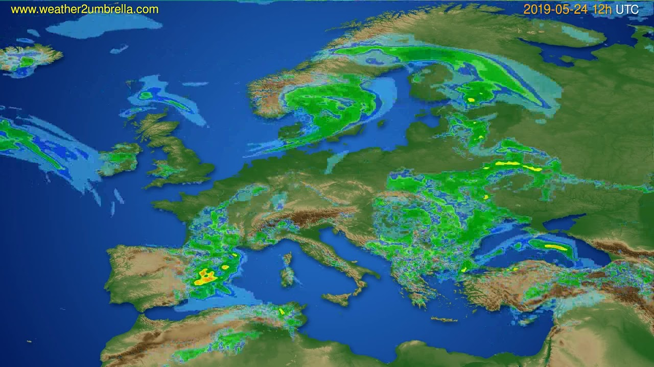 Radar forecast Europe // modelrun: 00h UTC 2019-05-24