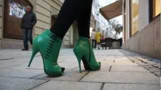 Green High Heels, Leather Gloves And Black Tights - Daydreams By Veryluxe