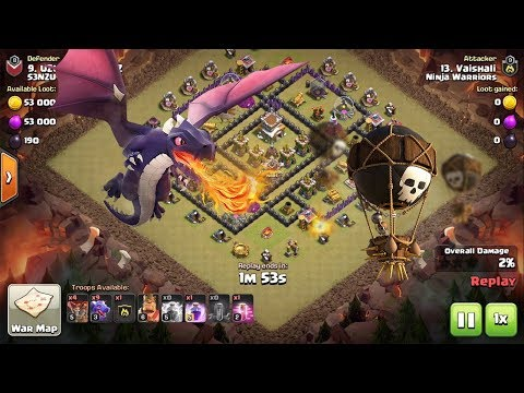 TH8 Dragon + Balloon Attack || Great Strategy by Girls || Clash of Clans
