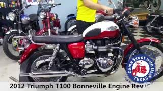 10. 2012 Triumph T100 Bonneville classic motorcycle engine rev