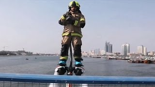 Dubai firefighters use jetpacks to aid high-speed response