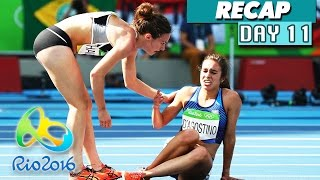 Rio Olympics 2016 highlights, results, & the Nikki Hamblin & Abbey D'Agostino fall! Day 11 of the Rio Olympics 2016 has finished, so I am again simplifying the hours upon hours of sports shown on TV today to a short video featuring the highlights, gold medal winners, and world records broken, if any.This is a video for the Rio Olympics on August 16, 2016, and I'll be doing a new compilation video every day until the Olympics are over on August 21st. Make sure to subscribe to Culture Vulture for more videos:https://www.youtube.com/c/culturevultureHighlights:Simone Biles wins another gold medal in gymnastics for Team USA, and Aly Raisman wins silverAbbey D'Agostino & Nikki Hamblin fall into each other during a women's 5000m qualifying race, and Nikki helped Abbey up so they could finish the race together.Gold medal winners:Oleg Verniaiev of Ukraine wins gold in men's parallel barsSimone Biles of USA wins gold in women's floor exerciseFabian Hambuechen of Germany wins gold in men's horizontal barChristian Taylor of USA wins gold in men's triple jumpSandra Perkovic of Croatia wins gold in women's disqus throwSebastian Brendel of Germany wins gold in men's 1000m canoe singleGabriella Szabo & Danuto Kozak of Hungary win gold in women's 500m kayak doubleLisa Carrington of New Zealand wins gold in women's 200m kayak singleMarcus Walz of Spain wins gold in men's 1000m kayak singleLaura Trott of Great Britain wins gold in women's omnium cyclingKristina Vogel of Germany wins gold in women's cycling sprint!Jason Kenny of Great Britain wins gold in men's keirin cyclingCao Yuan of China wins gold in men's 3m springboard divingFerry Weertman of Netherlands wins gold in men's 10km swimmingMarit Bouwmeester of Netherlands wins gold in women's laser radial sailingTom Burton of Australia wins gold in Men's laser sailingGiles Scott of Great Britain wins gold in men's finn sailingArtur Aleksanyan of Armenia wins gold in men's 98kg Greco-Roman wrestlingNatalia Ishchenko & Svetlana Romash
