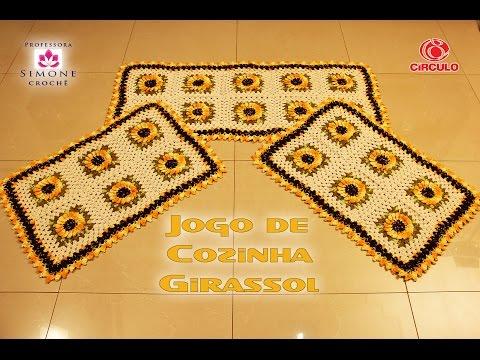 Professora Simone - Jogo Cozinha Girassol em crochê ( crochet )