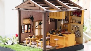 DIY Dollhouse Kit - Miniature Sushi Restaurant with Working Lights