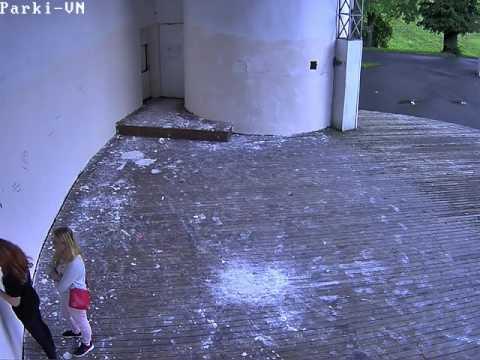 Видео: девушки-вандалы разрисовали стену Летней эстрады