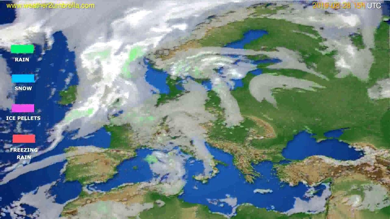 Precipitation forecast Europe // modelrun: 12h UTC 2019-08-25