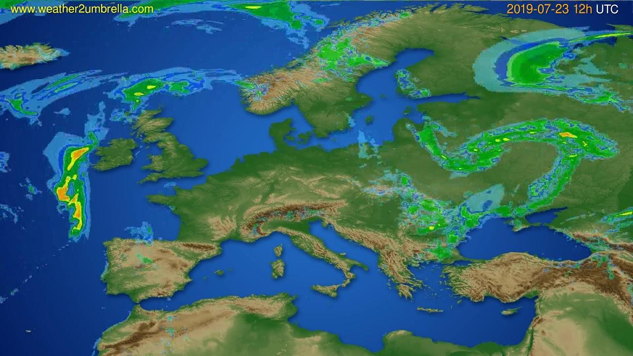 Radar forecast Europe // modelrun: 00h UTC 2019-07-23