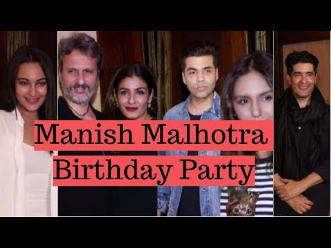 Sonakshi Sinha, Karan Johar & Raveena Tandon At Attend Manish Malhotra Birthday Party