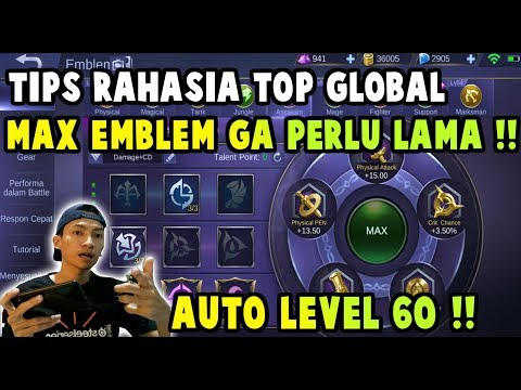 CARA CEPAT NAIK LEVEL EMBLEM MAX !! TIPS RAHASIA TOP GLOBAL - Mobile Legends