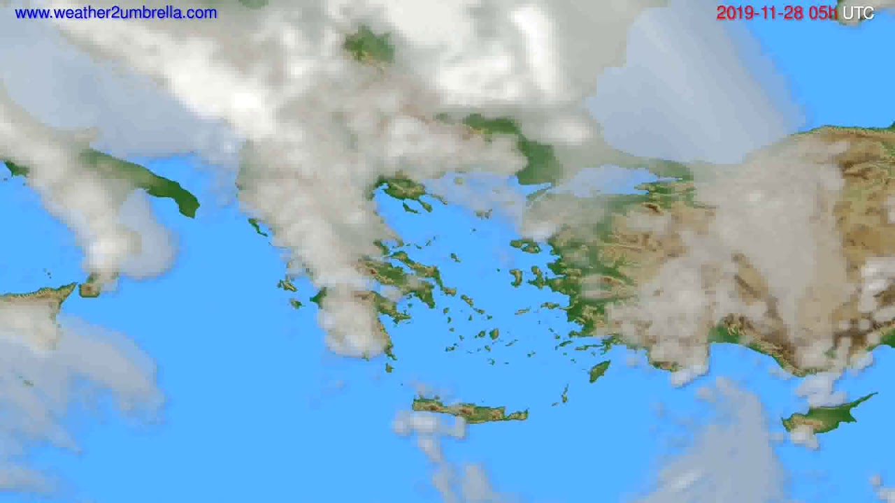 Cloud forecast Greece // modelrun: 12h UTC 2019-11-26