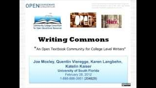 CCCOER- Writing Commons, an open textbook community for college-level writers