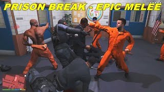 Welcome to Prison Break in GTA 5I decided to make this video after I realised that most of my most popular videos are GTA videos involving epic battles and brawls.Especially my old GTA 4 Prison Break series. This video for example got over half a million views. That's why I decided to mod GTA 5, despite so much time passing already to see how a prison brake in GTA 5would turn out. I'll make more videos about prison break eventually, the first one is so to say a pilot videowhere the prison inmates try to escape a police station before being sent to a real prison.They managed to brake out of their cells and some managed to arm themselves with random items before the guards appeared. Let's check it outMods used: Bodyguard Mod, Trainer, Skin Mod, personal modding of loadouts, dispatch and other files.Tags: kenzugaming, games, game, video games, pc games