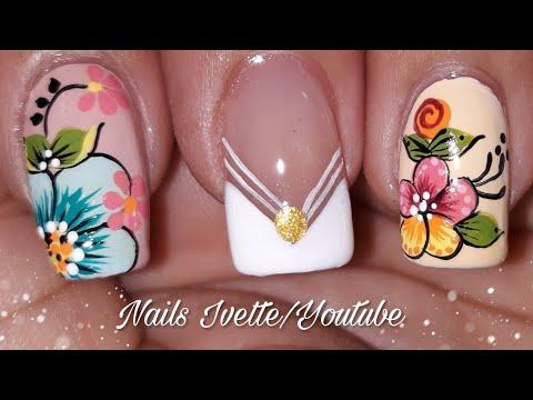 Uñas decoradas - Decoración de uñas flores fácil/ flores básicas para uñas/ decoración de uñas flores paso a paso