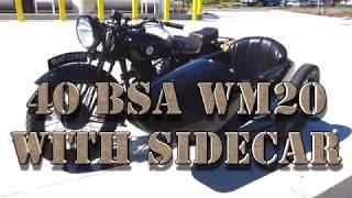 2. 1940 BSA WM40 MOTORCYCLE W SIDE CAR