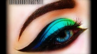 Spring Make Up Tutorial - Exotic, sexy, colorful and bright cat eye (trucco primaverile) FASHION - YouTube