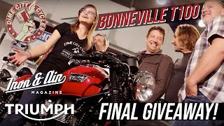 5. The Dime City, Iron & Air & Triumph Motorcycles Bonneville T100 Giveaway! - Final Giveaway