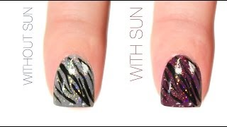 Zebra Print Color-Changing Nail Art Design