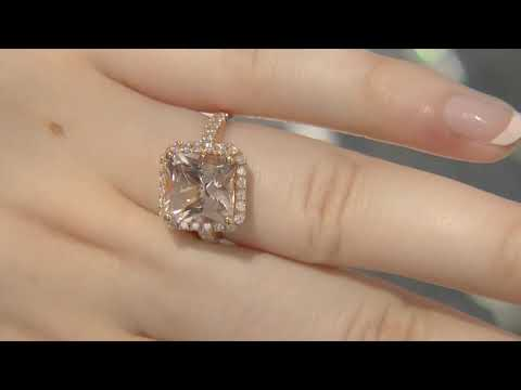 5.05 Carat Bespoke Designed Morganite Halo Engagement Ring GR009