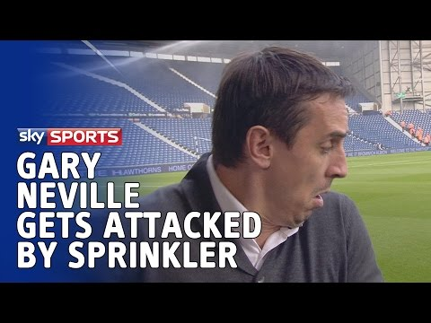 gary - Sky Sports pundit Gary Neville got a shock whilst attempting a pre-match interview for Super Sunday when a sprinkler emerged from the pitch and started spraying water. Subscribe to Sky Sports...
