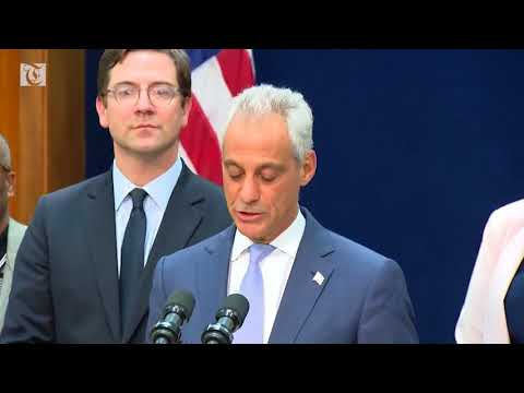 Chicago Mayor Rahm Emanuel hails a federal judge's decision barring the US Justice Department from denying public-safety grants to so-called sanctuary cities.