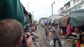 Maeklong Train Market Near Bangkok Thailand.