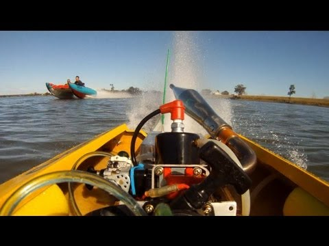 RC Boat Racing a Real Boat