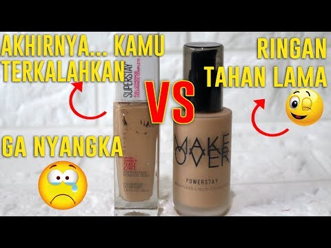 FOUNDATION UNTUK KULIT BERMINYAK | MAYBELLINE SUPER STAY  VS MAKEOVER  POWERSTAY | Maria Soelisty
