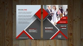 Two Fold Brochure Design | In Photoshop cc tutorial | Red and Gray