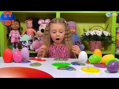Ярослава открывает Яйца с Сюрпризами. Игрушки для детей. Видео для девочек. Тiкi Такi Кids - DomaVideo.Ru