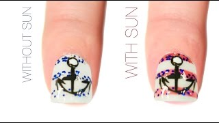 Nautical Color-Changing Nail Art Design