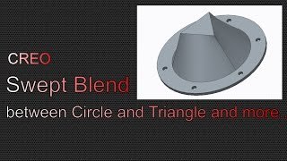 Swept Blend to connect triangle geometry to circular geometry.Axis Pattern to create small holesShell tool to make the flange hollow.