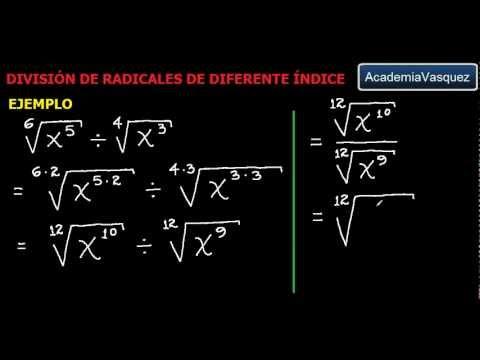 raíces con diferentes índices - Teoría y ejemplos prácticos acerca de división de radicales de diferente índice. Hecho por AcademiaVasquez Página web: http://www.academiavasquez.com Página ...