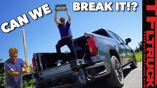 Watch Us Beat the Crap Out Of the New 2020 GMC Sierra CarbonPro Bed! by The Fast Lane Truck