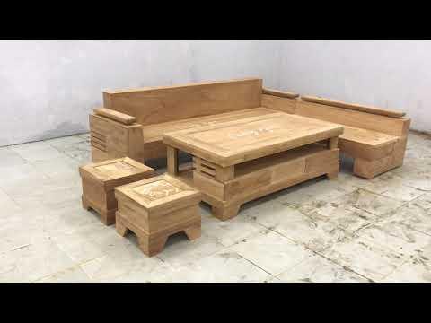 Sofa gỗ Gõ Đỏ góc L cao cấp 2m44x2m