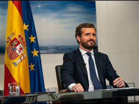 Pablo Casado participa en la mesa redonda telemáti...