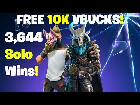 10K Vbucks Giveaway - 3644 Solo Wins! FORTNITE LIVE STREAM