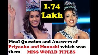 Video Final Question and Answers of Priyanka and Manushi which won them MISS WORLD 2000 and 2017 MP3, 3GP, MP4, WEBM, AVI, FLV Juni 2018