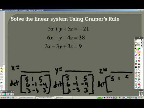 Algebra 2 4.3 Part 4 Examples Determinants and Cramers Rule