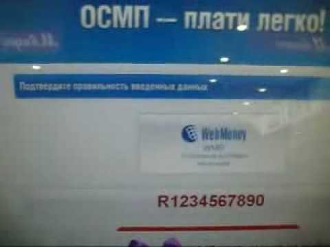 WebMoney.Перечисление денег через терминал..