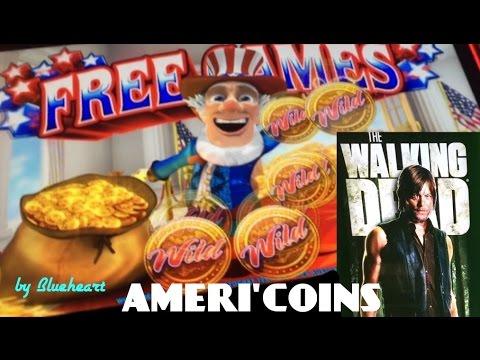 WILD AMERI'COINS slot machine bonus wins and The Walking Dead slot max bet bonus win!