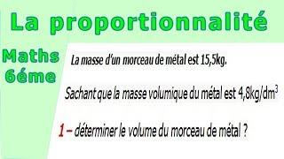 Maths 6ème - La proportionnalité la masse volumique Exercice 3
