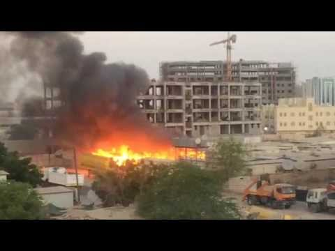 Massive fire in Ghala industrial area in Oman. Video send by Allen Thomas