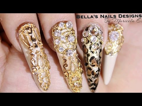 Unas Stilettos Gold Leopard Nails