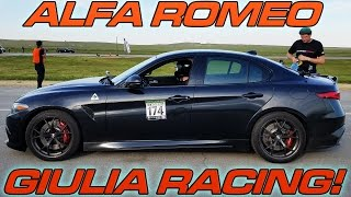 Alfa Romeo Giulia Quadrifoglio Half Mile Racing. This is one of the first ones in the US and it has less then 500 miles on it.  Cant think of a better way to break one in!   First up is a solo pass, then a run with a BMW i8, and then a Modded BMW M3 on race gas.