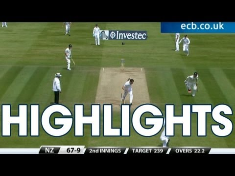 New Zealand - 7 wickets for Stuart Broad. Watch the highlights England v New Zealand - Day 4 Afternoon Session at Lord's.