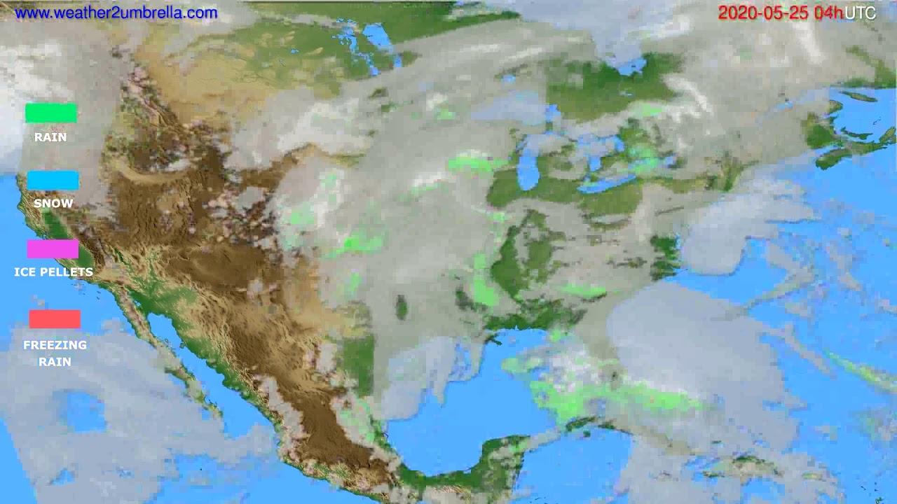 Precipitation forecast USA & Canada // modelrun: 12h UTC 2020-05-24