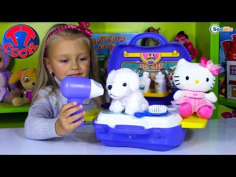 ХЕЛЛО КИТТИ и Ярослава открывают САЛОН КРАСОТЫ ДЛЯ ЖИВОТНЫХ игры для детей Hello Kitty Unboxing