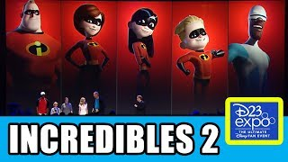 "The Incredibles 2 Pixar cast presentation at Disney's D23 Expo with Holly Hunter (Elastigirl), Samuel L Jackson (Frozone), Sarah Vowell (Violet), Huck Milner (Dash), Craig T Nelson (Mr Incredible) & writer-director Brad Bird. Subscribe for more! ► http://bit.ly/FlicksSubscribeRELATED VIDEOS--------------The Incredibles 2 Jack-Jack Plot & Powers Explained ► http://youtu.be/V1rh_bJeMAgPLAYLISTS YOU MIGHT LIKE------------------------Pixar ► http://bit.ly/PixarVideosDisney Animation ► http://bit.ly/DisneyAnimationVideosMarvel ► http://bit.ly/MarvelVideosDC ► http://bit.ly/DCVideosFox Marvel Movies ► http://bit.ly/FoxMarvelVideosAmazing Movie & TV Facts ► http://bit.ly/ThingsYouDidntKnowVideosMovie Deleted Scenes & Rejected Concepts ► http://bit.ly/MovieDeletedScenesEaster Eggs ► http://bit.ly/EasterEggVideosReviews ► http://bit.ly/FlicksMovieTVReviewsStar Wars ► http://bit.ly/StarWarsVidsGame of Thrones ► http://bit.ly/GameOfThronesVideosSOCIAL MEDIA & WEBSITE----------------------Twitter ► http://twitter.com/FlicksCityFacebook ► http://facebook.com/FlicksAndTheCityGoogle+ ► http://google.com/+FlicksAndTheCityWebsite ► http://FlicksAndTheCity.comThe Incredibles 2 is an upcoming 2018 American 3D computer-animated superhero film, and is the sequel to The Incredibles (2004). It is in production by Pixar Animation Studios, and will be released by Walt Disney Pictures. It is being written and directed by Brad Bird, the writer and director of the first film. The movie is scheduled to be released on June 15, 2018 and will be given an IMAX release.The Incredibles 2 follows the adventures of the Parrs, a family of Supers (humans with super abilities). The Parrs include the patriarch Bob, also known as Mr. Incredible who possesses super strength, Helen, his wife and known as Elastigirl for the ability to stretch her body, and their children Violet, who can become invisible and project force fields, Dash, who possesses super speed, and Jack-Jack, their infant who can transform into a number of forms. The sequel will start ""a minute"" after the end of the first film, according to Pixar's John Lasseter, where the Parrs are just about to face the Underminer.Voice castCraig T. Nelson as Bob Parr / Mr. IncredibleHolly Hunter as Helen Parr / ElastigirlSarah Vowell as Violet ParrHuck Milner as Dashiell Robert Parr / Dash - While Dash was voiced by Spencer Fox in the first film, his voiced had deepened in the intervening years, leading them to cast an actor appropriate for a 10-year-old character.Samuel L. Jackson as Lucius Best / FrozoneJohn Ratzenberger as The UnderminerBrad Bird as Edna Mode"