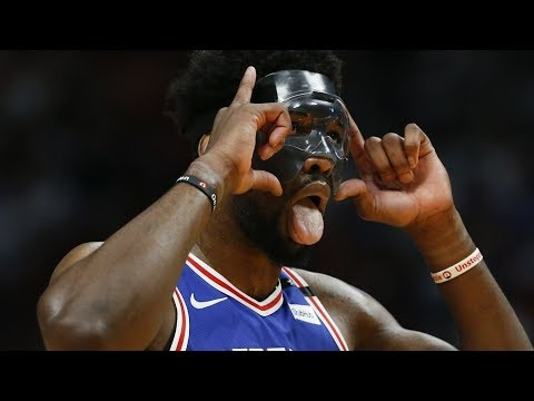Joel Embiid Wears Mask in Playoff Debut 23 Points! 2018 NBA Playoffs